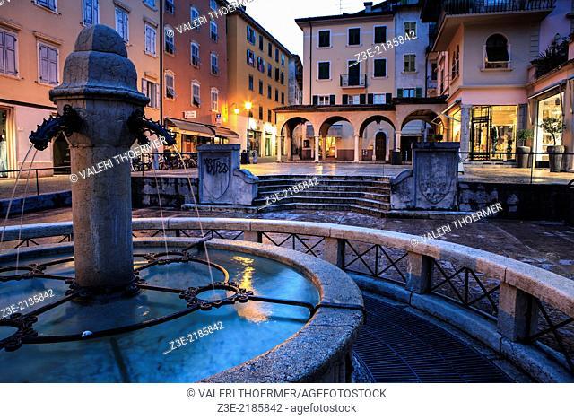 Riva del Garda town by night, Italy