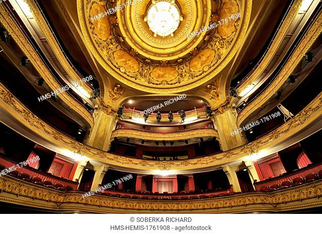 France, Nord, Lille, Lille Opera, the great room, balconies and cupola ornated with eight medallions which include eight paintings of Victor Lhomme and George...