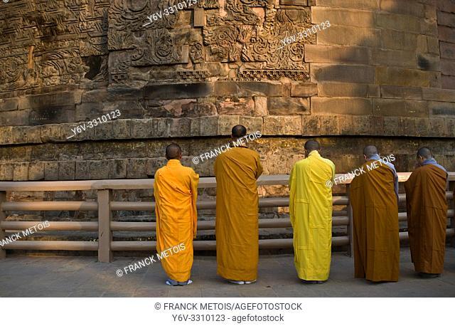 Buddhist monk praying at the foot of the Dhamek stupa ( Sarnath, India)