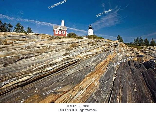 Low angle view of a lighthouse, Pemaquid Point Light, Bristol, Maine, USA