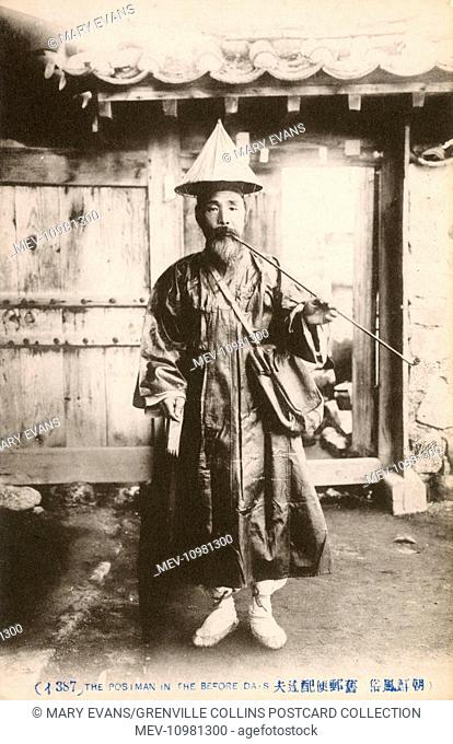 Old Chinese Postman in Traditional attire