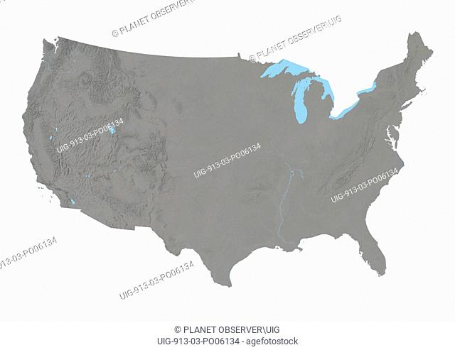 United States, Relief Map