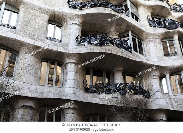 Modernist style building, house, Casa Mila or La Pedrera by Antoni Gaudi in Eixample quarter of Barcelona