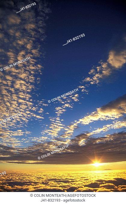Sunrise over Mount Ruapehu from Mount Egmont New Zealand