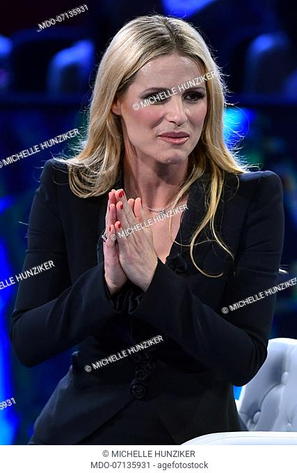 Michelle Hunziker during tv broadcast Buon Compleanno Pippo dedicated to Pippo Baudo to his 83 years and 60 years of work on television in the Rai studios Dear