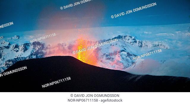 Volcanic eruption in South Iceland, image shot 30. Mars 2010