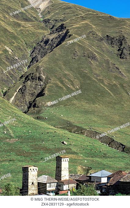Traditional medieval Svanetian tower houses, Ushguli village, Svaneti region, Georgia, Caucasus, Middle East, Asia, Unesco World Heritage Site