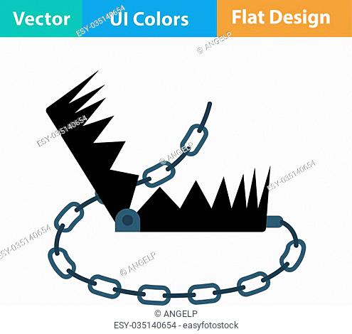 Flat design icon of bear hunting trap in ui colors. Vector illustration
