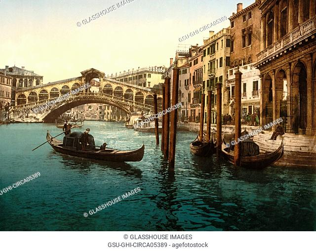 Rialto Bridge, Venice, Italy, Photochrome Print, Detroit Publishing Company, 1900
