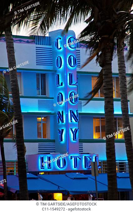 Colony Hotel, south beach Miami, Florida, USA