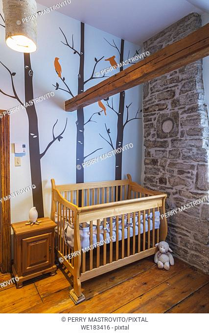 Crib and natural stone chimney with carved medallion of the profile of a French settler in baby room with trees wall mural and pinewood floorboards inside an...