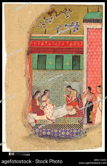The Death of King Dasharatha, the Father of Rama, Folio from a Ramayana. Object Name: Folio from an illustrated manuscript; Date: ca