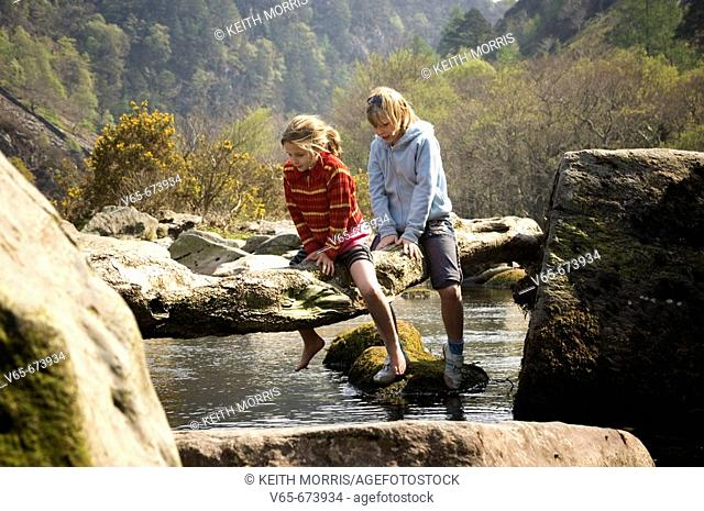 Two young girls, sisters, crawling across a wooden branch on the Glaslyn river near Beddgelert, Snowdonia national park spring afternoon. Wales UK