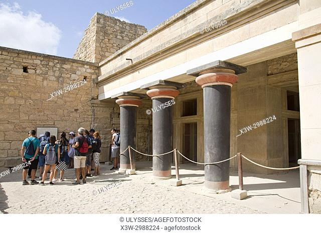 Hall of the double axes, Knossos palace archaeological site, Crete island, Greece, Europe