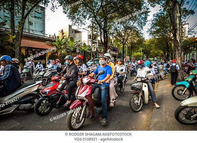 Some of the millions of motorcyclrs that travel around Saigon (Ho Chi Minh City) daily. Vietnam