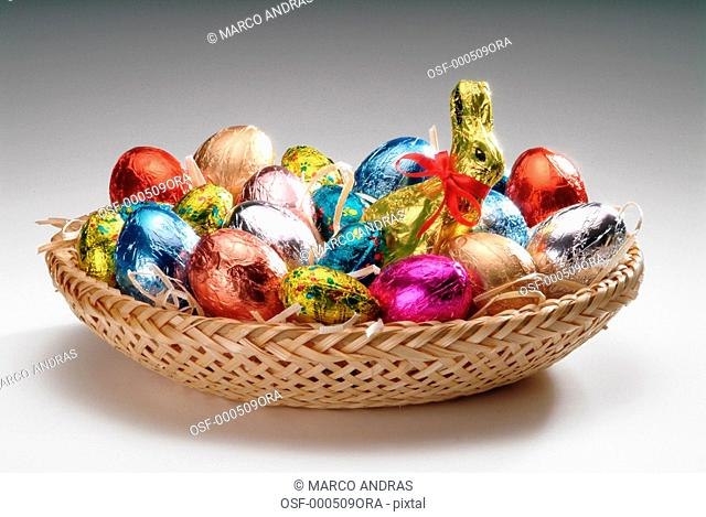 a nest full of chocolates from Easter