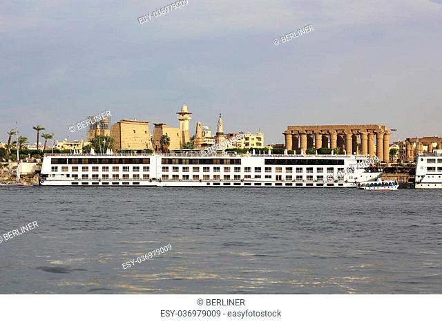Nile Cruise ships in front of the Luxor Temple, Egypt