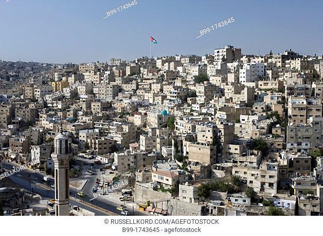 Giant Jordanian Flag Downtown Skyline Amman Jordan