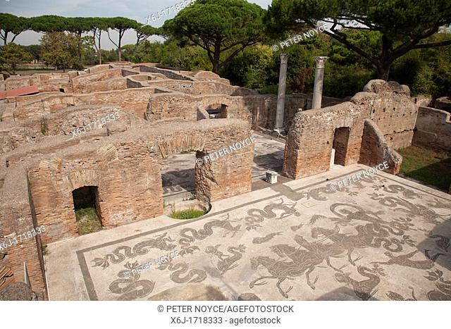 Mosaic at Terme di Nettuno at The ancient roman port town ruin of Ostia near Rome