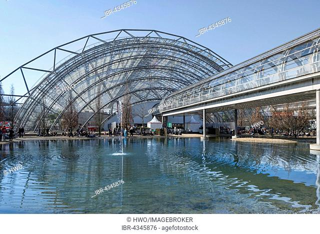 Trade fair with pond and footbridge, rear Neue Messe glass hall, book fair, Leipzig, Saxony, Germany