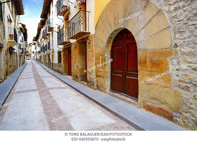 Rubielos de Mora village in Teruel Spain located on Gudar Javalambre Sierra