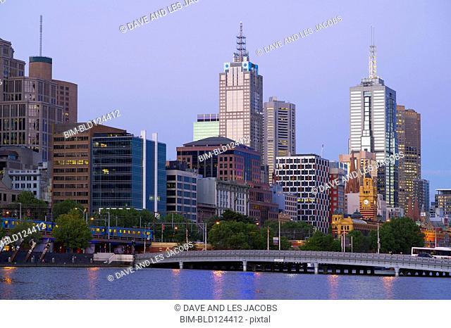 City skyline on waterfront, Melbourne, Victoria, Australia