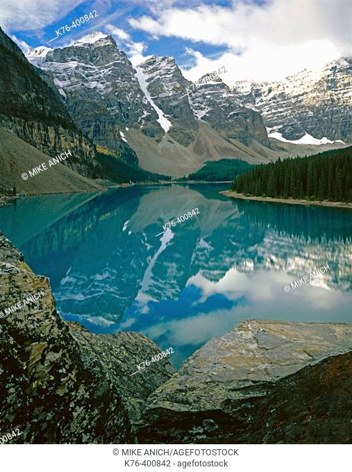 Wenkchemma peaks, reflected in Moraine Lake. Banff National Park. Canada