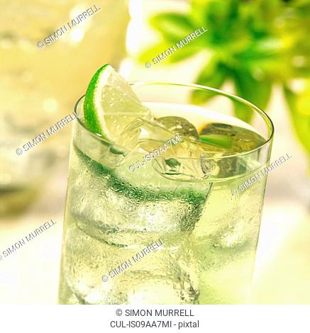 Glass of ice cold lime juice