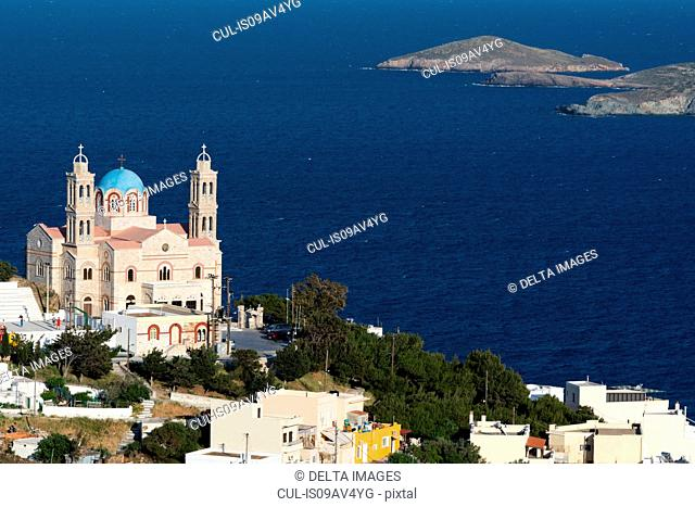 Elevated view of the Church of Resurrection, Ermoupoli, Syros, Cyclades Islands, Aegean sea, Greece