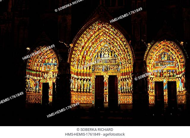 France, Somme, Amiens, Notre Dame Cathedral of Amiens listed as World Heritage by UNESCO, polychromatic illumination and original colors restoration of the...