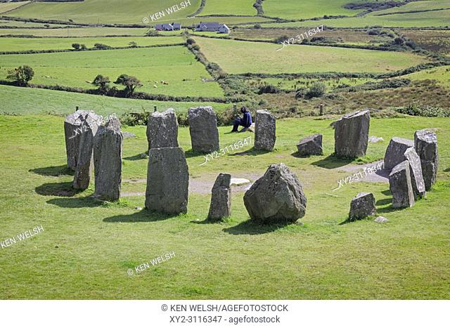 near Glandore, County Cork, Republic of Ireland. Drombeg recumbent stone circle. It is also known locally as The Druid's Altar