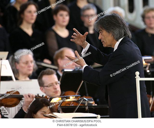 Kent Nagano conducts Philharmonische Staatsorchester Hamburg at the state funeral for former German Chancellor Helmut Schmidt (SPD) in the St