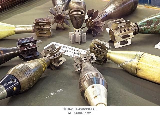 American 40mm mortar shells on display in the War Remnants Museum in Ho Chi Minh City Vietnam