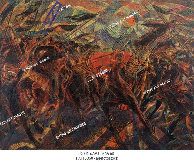 The Funeral of the Anarchist Galli. Carrà, Carlo (1881-1966). Oil on canvas. Futurism. 1911. © Museum of Modern Art, New York. 198,7x259. Painting