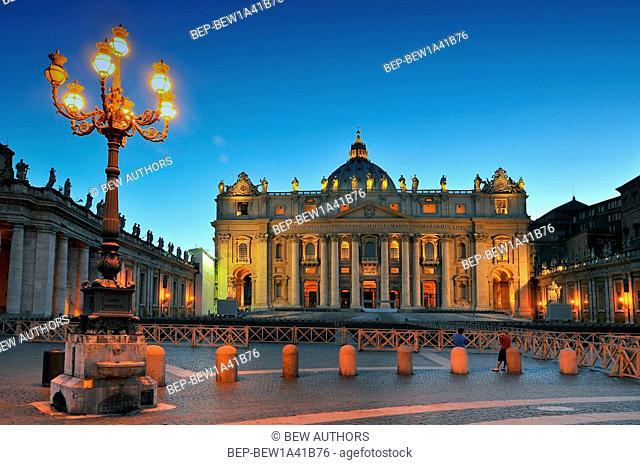 Lazio, Rome, Vatican, Saint Peter at dusk