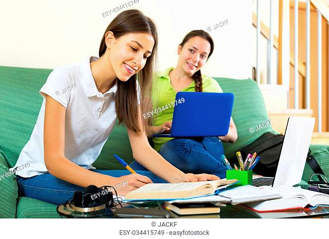 Smiling young student girls studying at home with books and computers