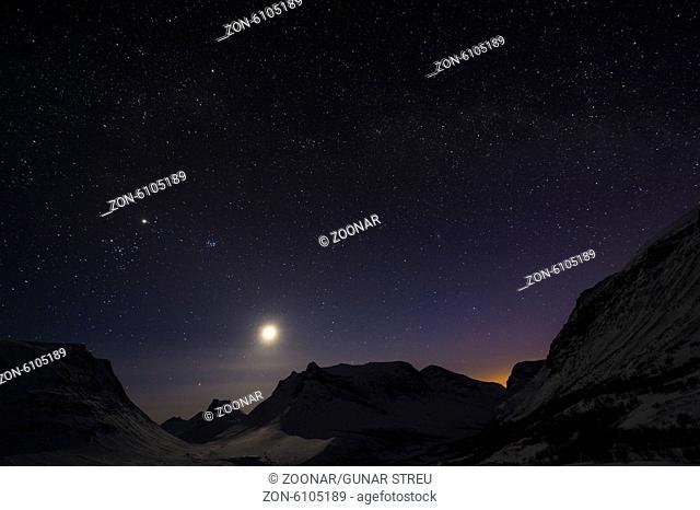 moonlit landscape, Vistasdalen, Lapland, Sweden