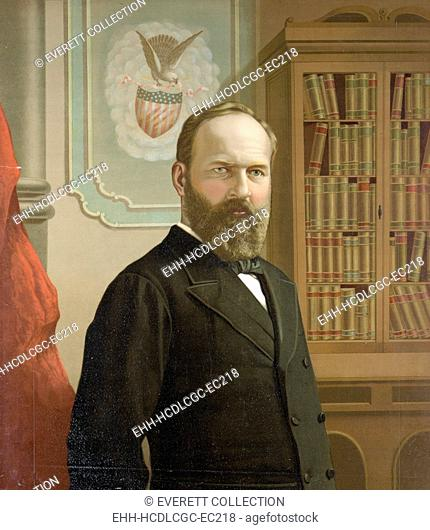 The late president James A. Garfield, color lithograph ca. 1881