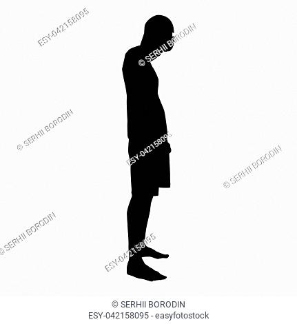 Man closing his eyes his hands silhouette side view icon black color vector illustration flat style simple image