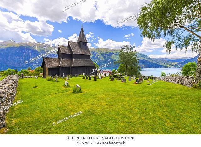 Urnes Stave Church at Ornes on the Lustrafjorden, part of Sognefjord, Norway, Scandinavia