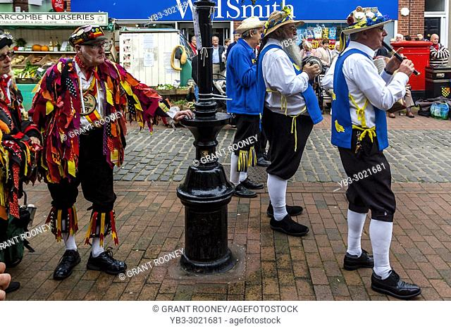 Morris Dancer Musicians Perform At The Annual Lewes Folk Festival, Lewes, Sussex, UK
