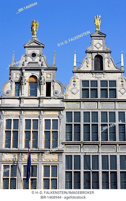 Facades of the guild houses on the Grote Markt square, Antwerp, Flanders, Belgium, Europe