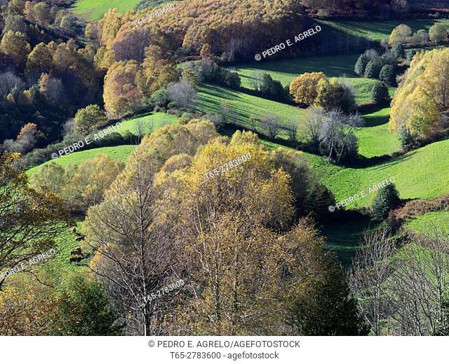 Aerial view of mountain lucense O Courel, Natura area in Lugo