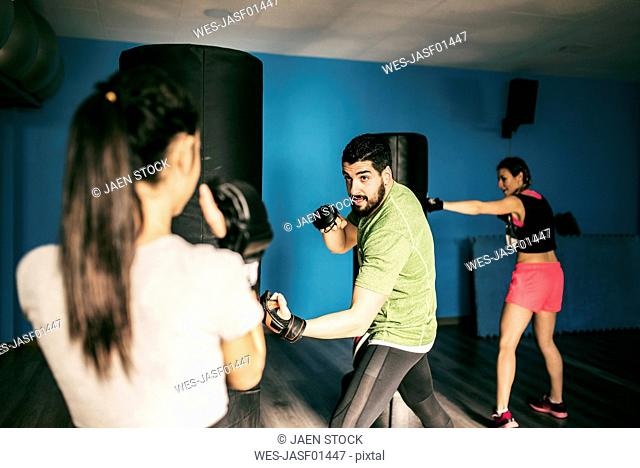 Boxing class in gym