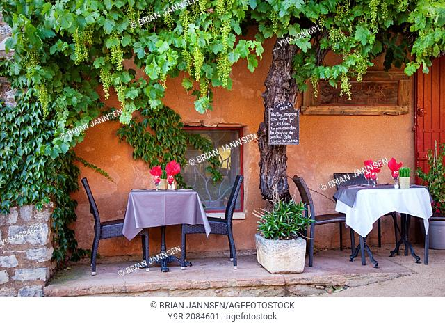 Outdoor cafe in Roussillon, Provence France