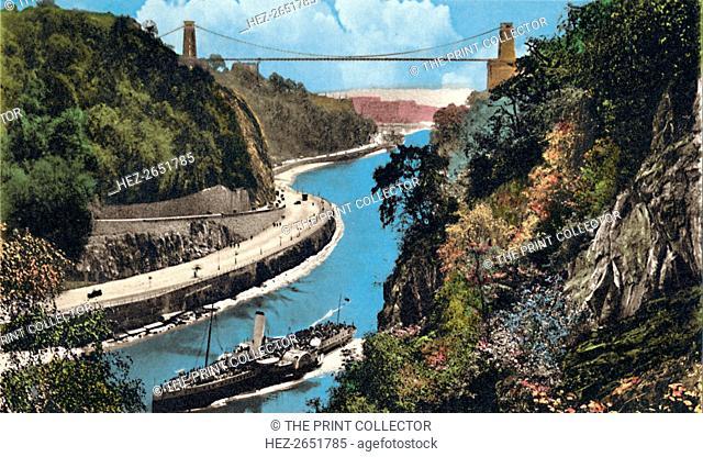 'Clifton Suspension Bridge from Leigh Woods, Bristol', c1940s. [Harvey Barton, Aberdeen and Bristol]