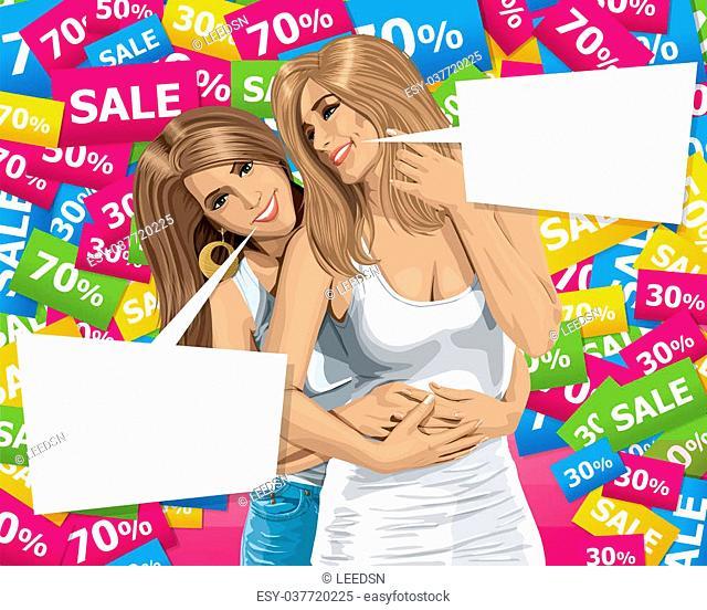 Sale concept. Vector gay couple. Two European happy woman