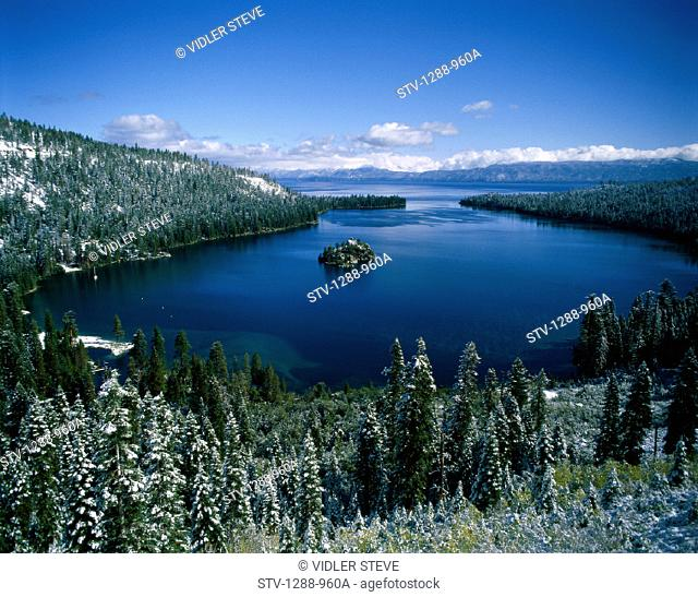 America, Cold, Forest, Frost, Holiday, Island, Isolated, Isolation, Lake, Lake tahoe, Landmark, Nevada, Serene, Snow, Tahoe, Tou