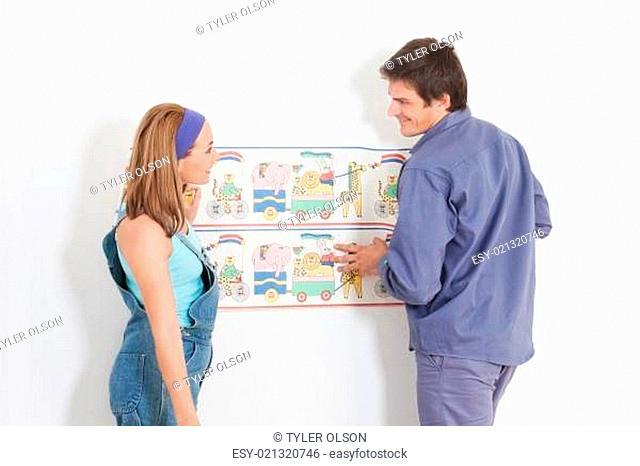 Happy Couple Hanging Wallpaper