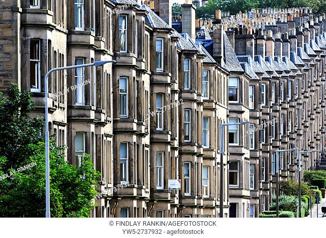 Tenement apartments of grey sandstone, Edinburgh, Scotland, UK